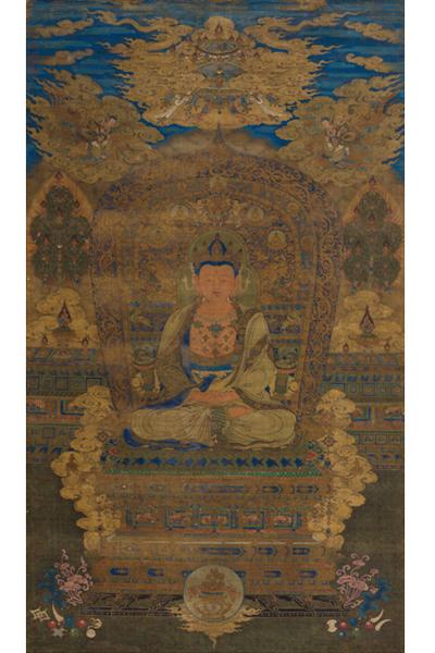本次亦將呈現一幅精美絕倫的毗盧遮那佛,與台北故宮所藏「元毗盧遮那佛像」似出一稿,上鈐乾隆五璽,應為宮廷舊物。(嘉德提供)