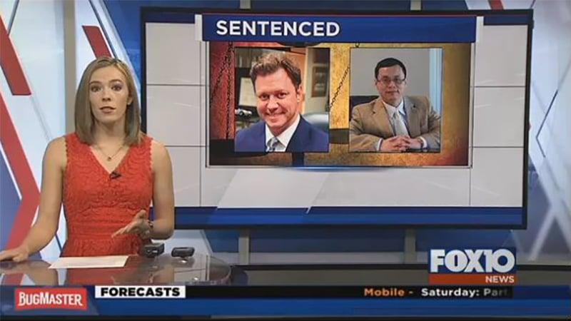 阿拉巴馬州華裔醫生阮秀祿(右)因給病人濫開止痛藥,且從中牟利,被法官判21年監禁及數百萬美元的賠償金,其合作醫生(中)被判20年監禁。(視像擷圖)