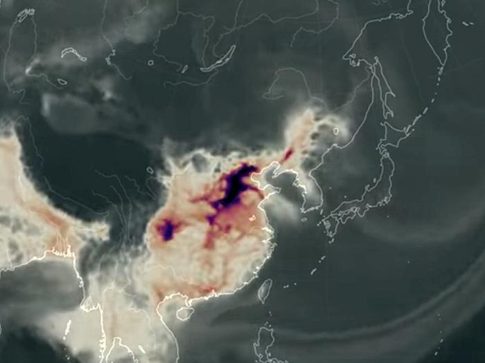 NASA的監測發現,今年1月中至3月,中國的一氧化碳不斷向東亞地區擴散,波及台灣、日本及南韓等地。(NASA)