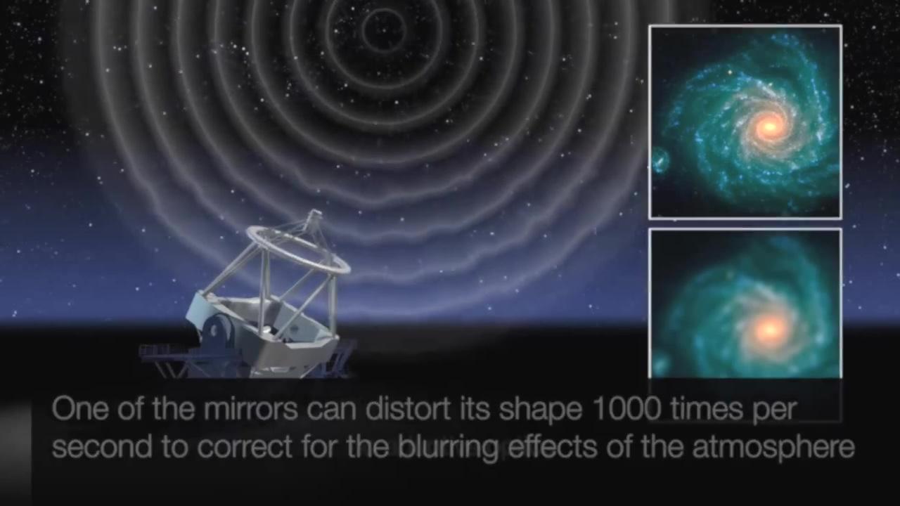「歐洲極大望遠鏡」將獲得更為清晰的觀測圖像,可能比哈勃望遠鏡清晰15倍。(ESO視像擷圖)