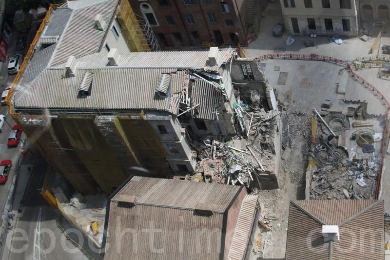 去年舊中區警署建築群進行活化工程期間,已婚督察宿舍部份樓層坍塌。屋宇署完成調查報告,並票控承建商。(大紀元資料圖片)