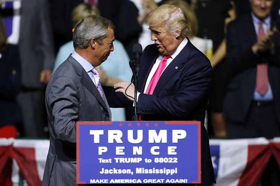 特朗普勝選後,接見的第一位外國政要是英國獨立黨前黨魁奈傑爾・法拉奇(Nigel Farage)。(Jonathan Bachman/Getty Images)