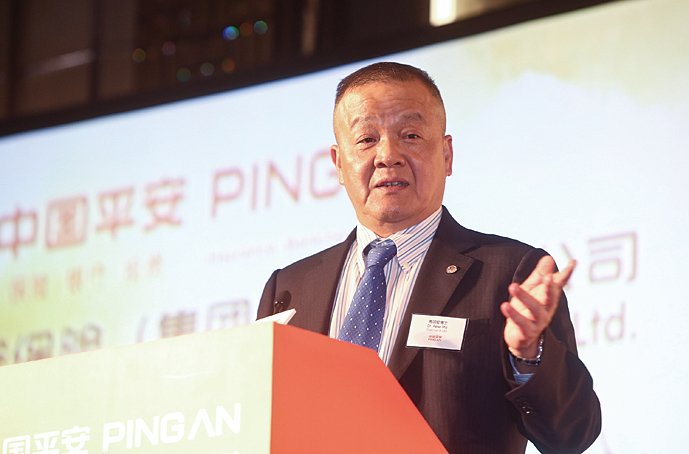 中國平安集團董事長兼首席執行官馬明哲表示,平安互聯網金融的發展主要聚焦於大金融資產及大醫療健康領域,涉及傳統金融及非傳統兩種模式。(余鋼/大紀元)