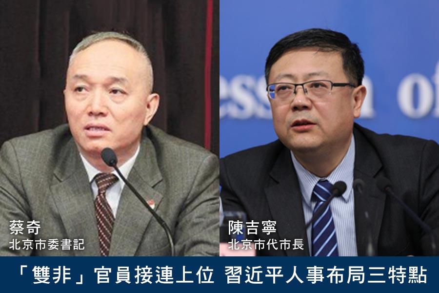 5月底,「雙非」官員蔡奇(左)和陳吉寧(右)分別出任北京市委書記和代市長,令中共政壇震動。(網絡圖片/大紀元合成)