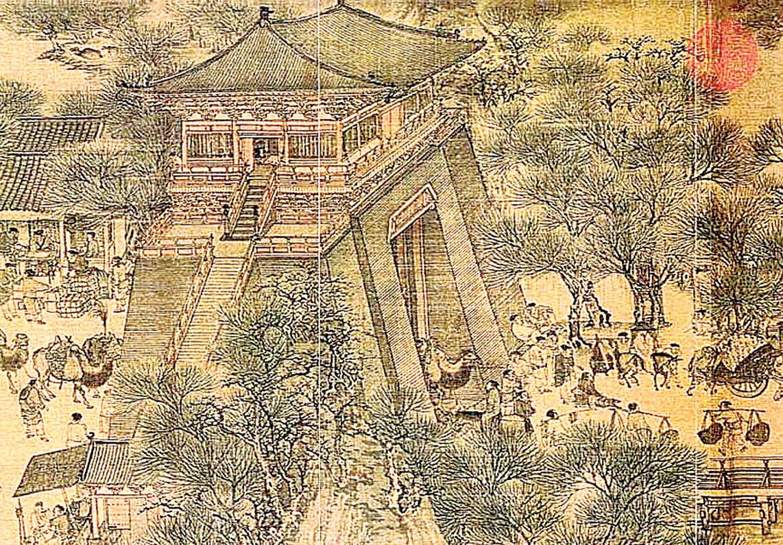 清明上河圖汴京瓮城。(公有領域)