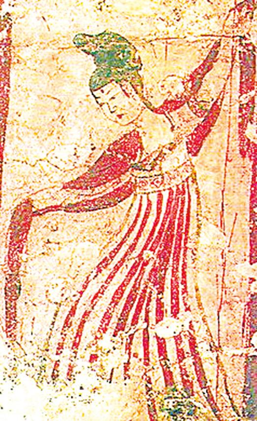 唐代壁畫上的舞姬。(公有領域)