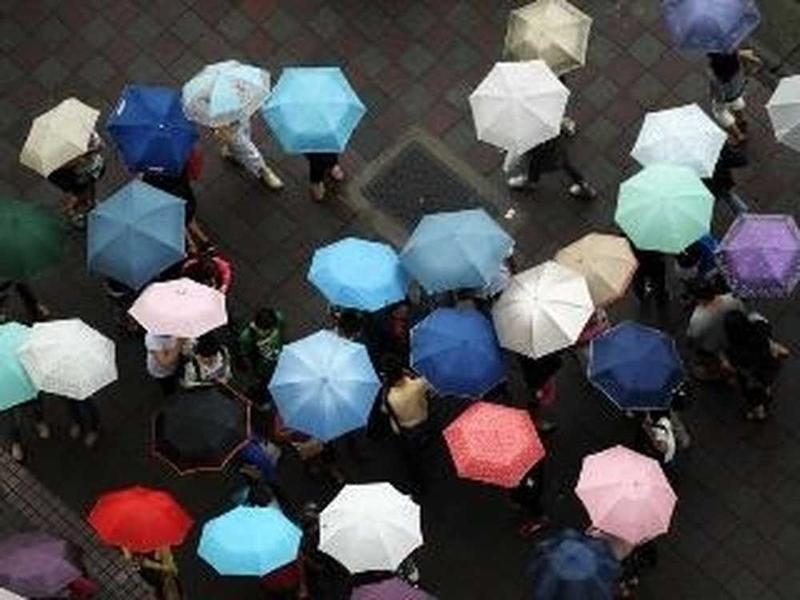 梅雨季的傘花海形成一街頭風景。(中央社檔案照片)