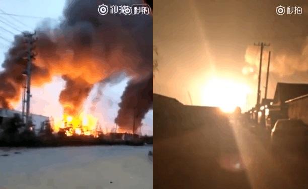 從網民上傳的片段中可見,有三處火場同時起火,事故現場爆炸聲如炸雷般,火光沖天,火勢猛烈。(網絡圖片)