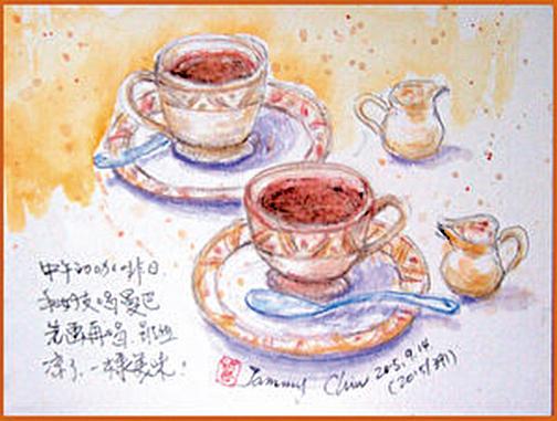 水性色鉛筆速寫/餐後熱咖啡。(作者邱榮蓉提供)