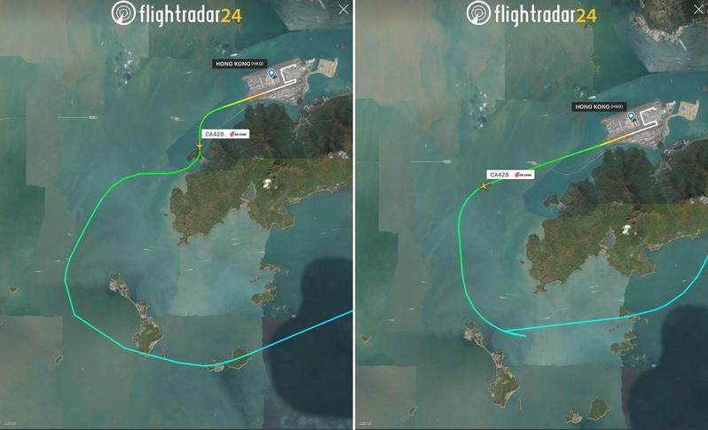 國航CA428航機前晚在香港國際機場起飛後,偏離正常航道(右圖),險些撞向大嶼山附近山頭。(flightradar24圖片)