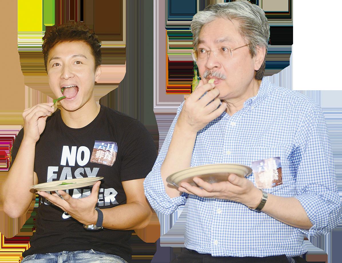 方力申與曾俊華一起獲邀體驗「六月『非』餐」。(宋碧龍/大紀元)