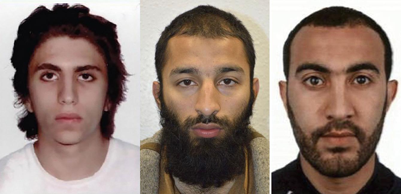 英國警方公佈三名恐怖份子的身份,從左至右依次為扎格巴、巴特及瑞多安。(法新社)