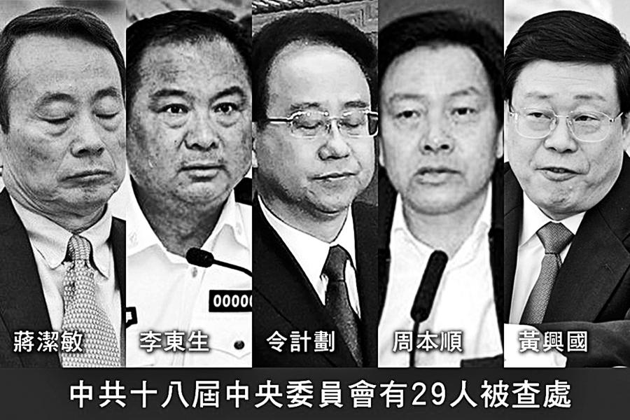 中共十八屆 中央委員會29人被查