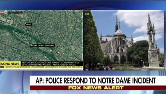 周二(6月6日),法國巴黎著名景點巴黎聖母院(Notre Dame Cathedral)發生襲擊事件,警方已經擊中了疑犯。(霍士推特擷圖)