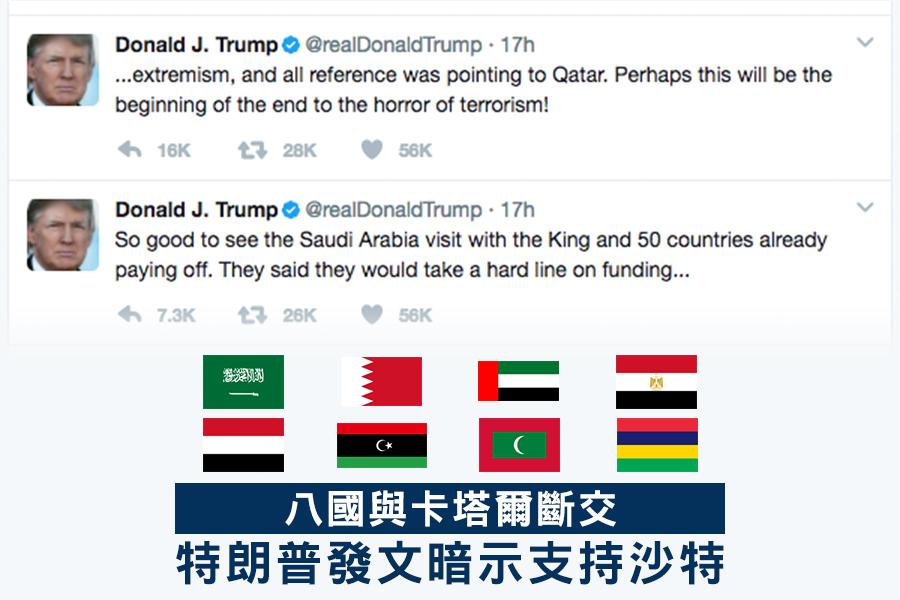 美國總統特朗普在推特上發文,暗示支持沙特等國的做法。(推特擷圖)