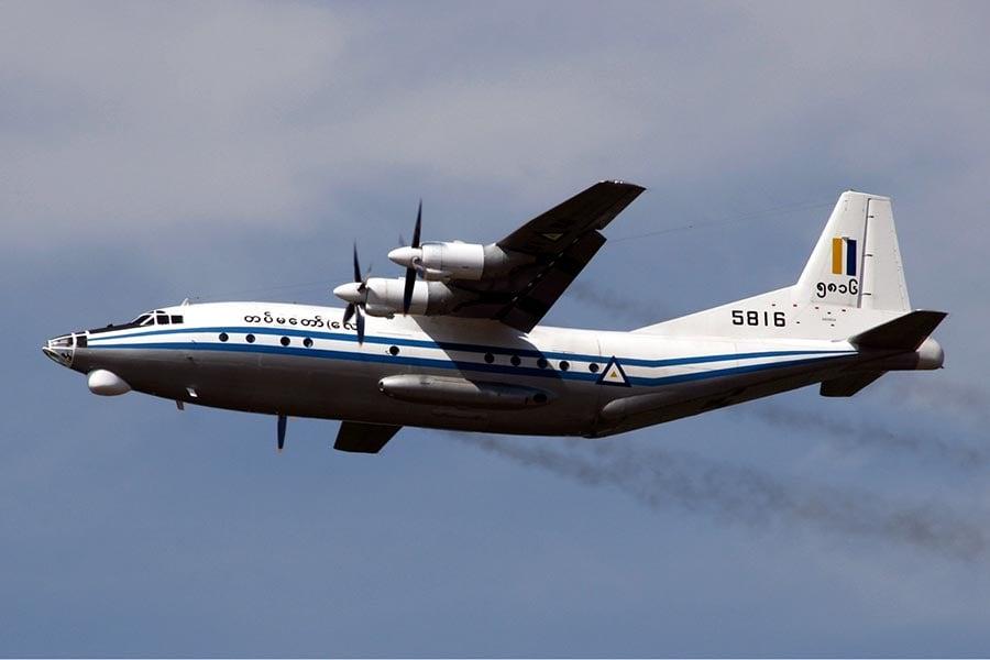 緬甸軍方購買的陝西Y8軍用運輸機。(Wikimedia Commons)