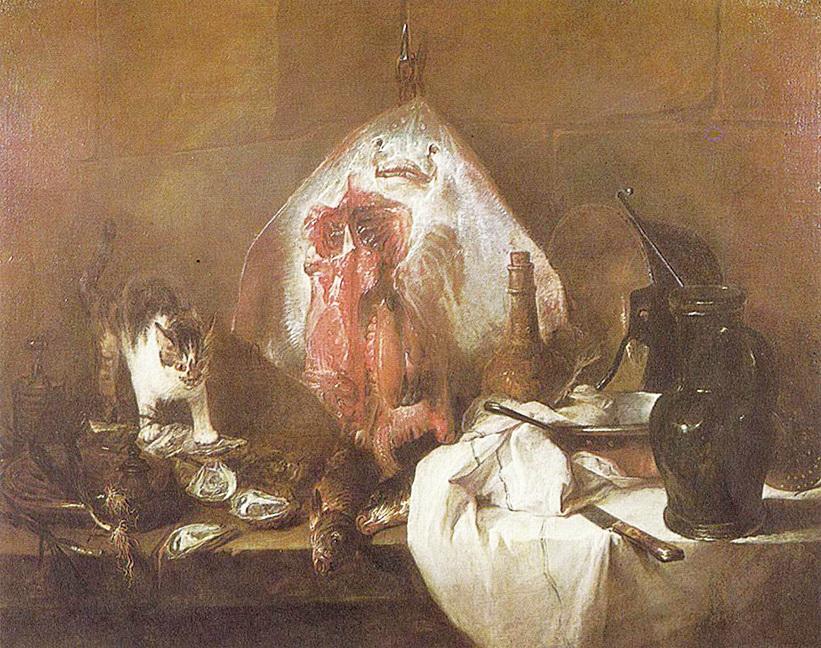 靜物大師夏丹的油畫《鰩魚》( 1728年)收藏於羅浮宮。(維基百科)