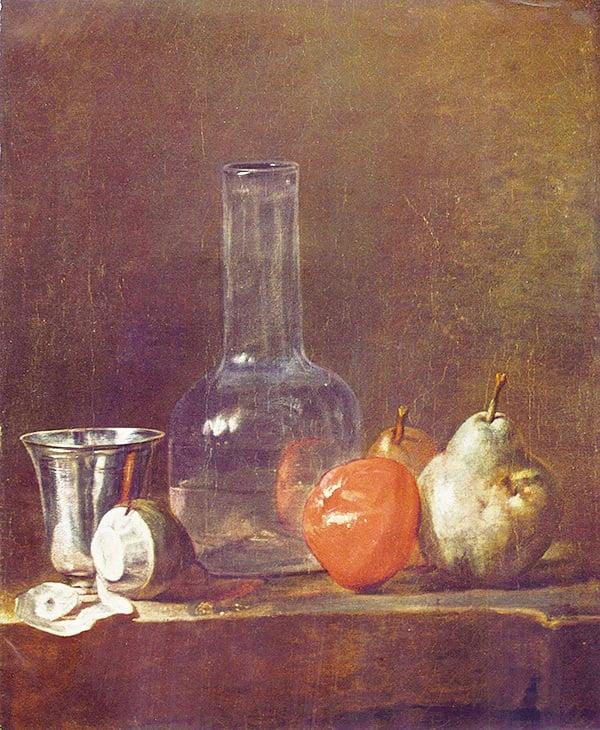靜物大師夏丹的《玻璃燒瓶和水果》,創作於1750年。(維基百科)