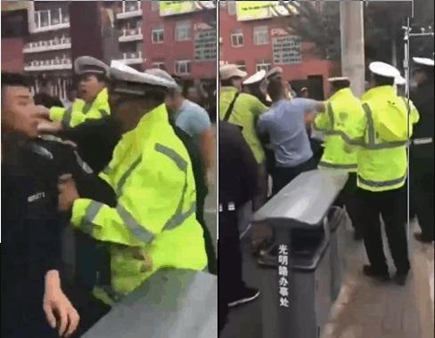 內蒙城管與交警當街群毆 引發群眾圍觀