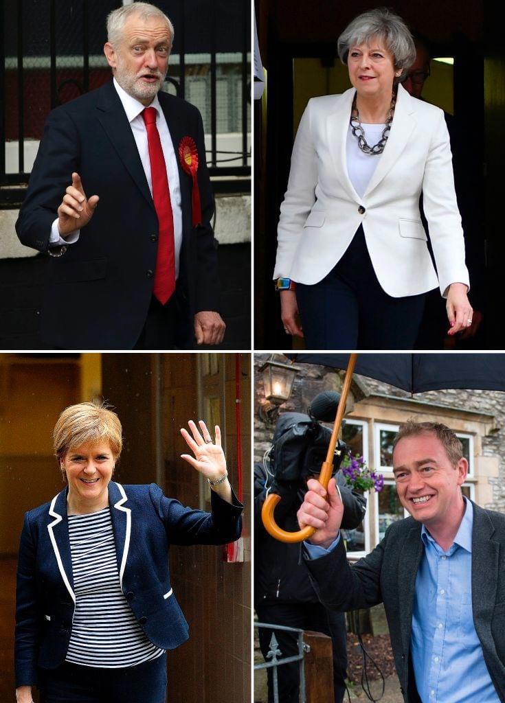 6月8日上午,英國政黨領導人都投下了自己的一票。(DANIEL LEAL-OLIVAS,BEN STANSALL,ANDY BUCHANAN,OLI SCARFF/AFP/Getty Images)