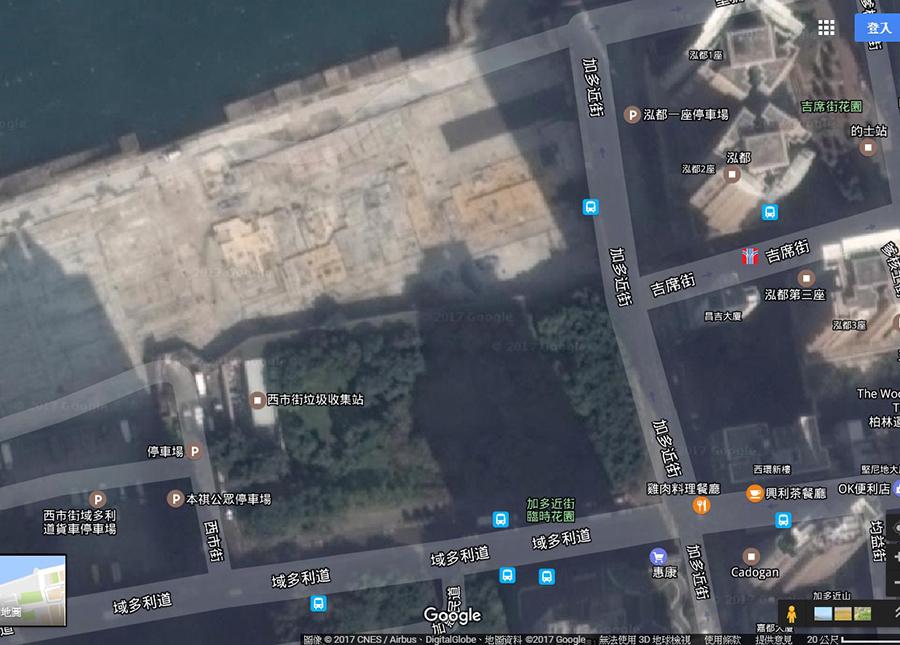 加多近街臨時花園一帶。(Google Earth)