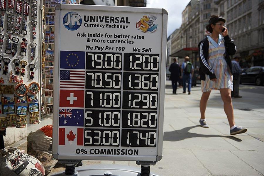 英鎊匯率。(NIKLAS HALLE'N/AFP/Getty Images)