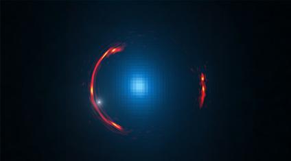 觀察到暗物質星系的重力透鏡圖像,周圍的紅色環為愛因斯坦環。 [Y. Hezaveh, Stanford Univ.; ALMA (NRAO/ESO/NAOJ); NASA/ESA Hubble 望遠鏡]