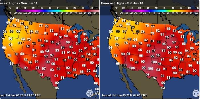 本周末到下周初,美國由中部大平原到東北部的新英格蘭地區,都是高溫及高濕度的天氣,溫度將飆高到超過華氏90度。(推特擷圖)