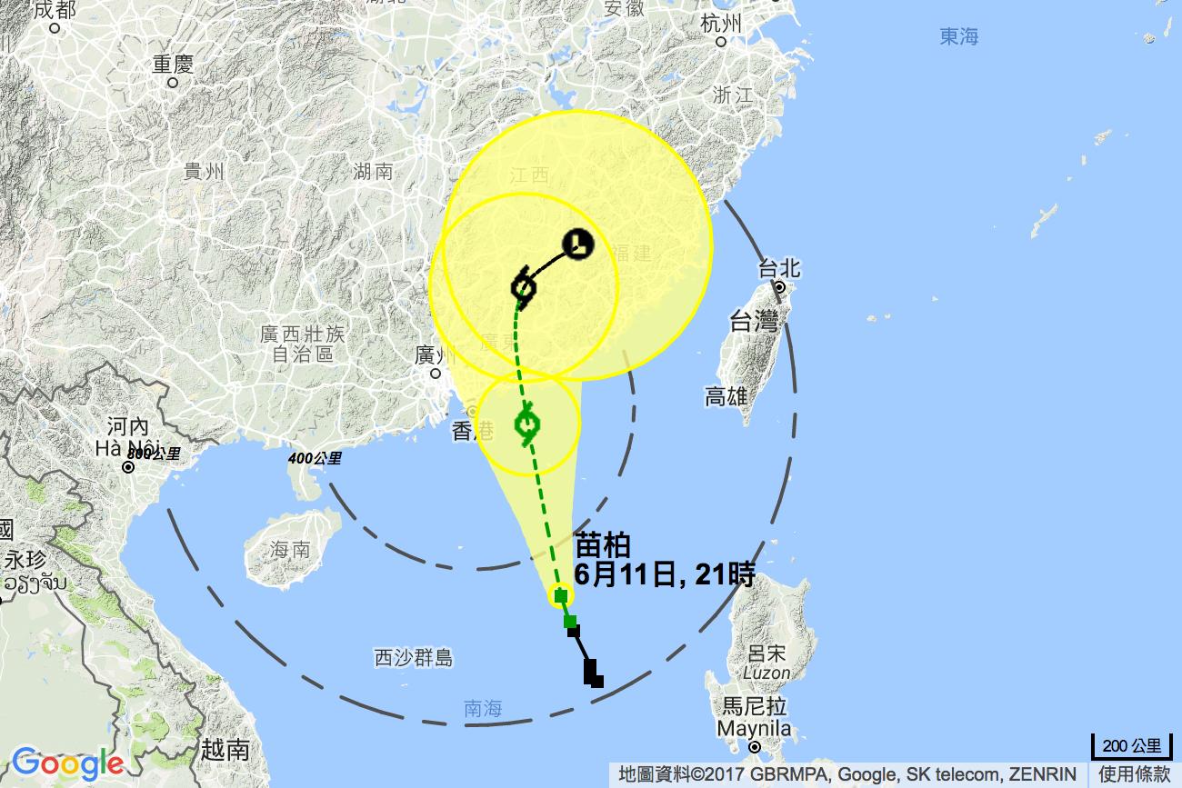 在下午9時,熱帶風暴苗柏集結在香港之東南偏南約520公里,預料向偏北方向移動,時速約20分里,橫過南海北部。(香港天文台)