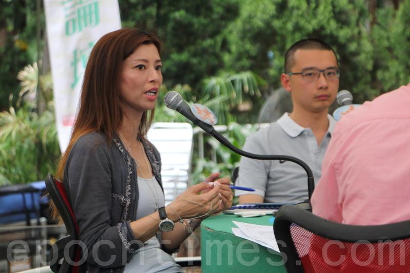 梁芷珊表示,南華退出港超聯對球迷是重大打擊,令球迷少了一個對港超聯的「合理期望」。(蔡雯文/大紀元)