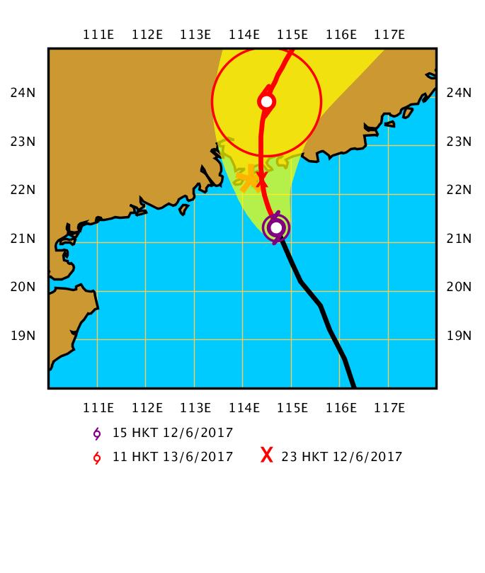 在下午3時,熱帶風暴苗柏集結在香港之東南偏南約120公里,即在北緯21.3度,東經114.7度附近,預料向西北偏北移動,時速約20公里,靠近廣東沿岸。(香港天文台)