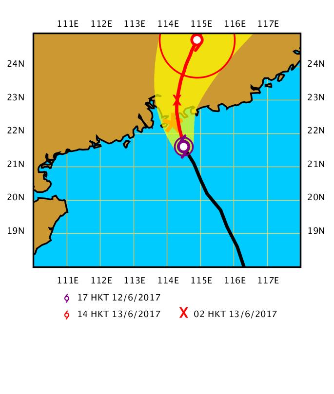 天文台表示,苗柏在過去數小時繼續靠近珠江口一帶。按照現時預測路徑,苗柏約在今晚午夜時分在香港50公里範圍內登陸。(香港天文台)