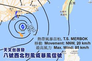 天文台改發八號西北烈風或暴風信號