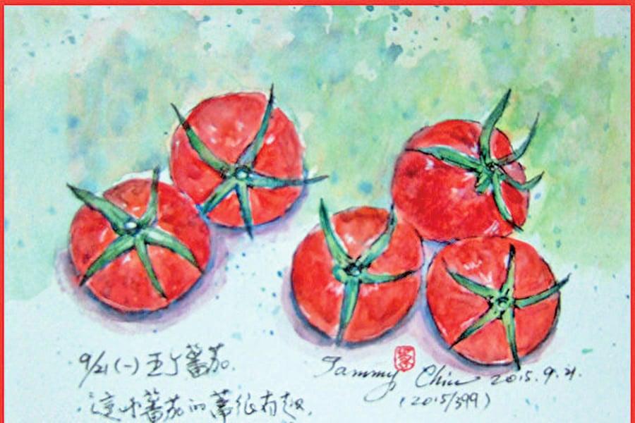 【彩繪生活】(318)家常味牛番茄和大白菜