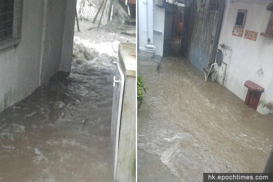 薄扶林村今早在暴雨下,部份路面出現水浸。(讀者提供)