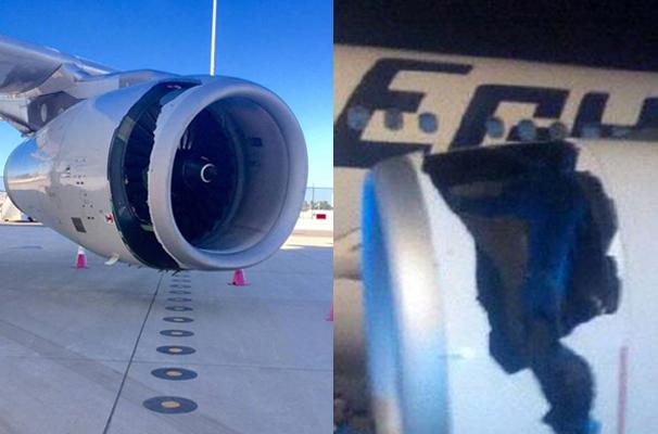 6月11日晚,中國東航A330客機發動機出現的故障(左),與5月14日在開羅發生的埃及航空A330客機事故(右)極為相似。事故調查聚焦在英國勞斯萊斯公司生產的Trent 772發動機的設計上。(網絡圖片)