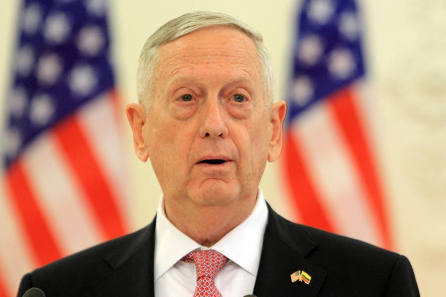 美國國防部長詹姆斯・馬蒂斯(James Mattis)周一(12日)警告,北韓的核武計劃對於國家安全及國際和平是當下「最迫切」的威脅。(AFP PHOTO / Petras Malukas)