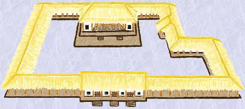 河南偃師二里頭遺址一號宮殿復原圖。(公有領域)