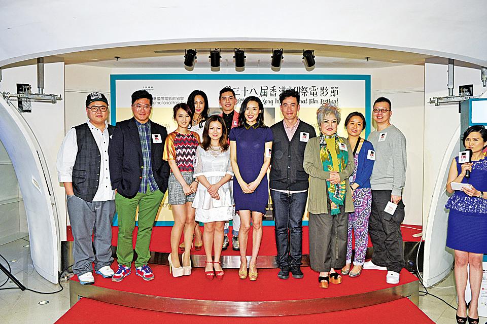 2014年4月2日《點對點》假The Grand Cinema舉行世界首映,黃浩然(右一)與一眾演員出席首映禮。(香港國際電影節協會圖片)