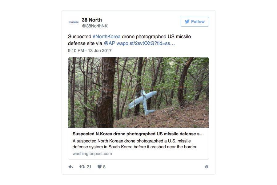南韓軍方人士周二(6月13日)表示,對6月9日在江原道麟蹄郡發現的疑似北韓無人機的分析結果顯示,該無人機曾在韓美部署的薩德反導彈系統所在地拍攝了十幾張照片。(38 North)