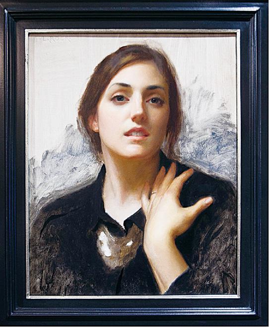 《黑衣勞拉》(Laura in Black),2015年,Joshua LaRock作,亞麻布面油畫,獲第12屆藝術復興中心沙龍展購買獎。