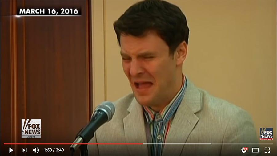 美國大學生奧托・瓦姆比爾(Otto Warmbier)在北韓被指因試圖在平壤的一家酒店裏竊取一幅宣傳海報而遭北韓當局拘捕,同年3月被北韓當局以陰謀顛覆國家罪判處15年勞教。在今年6月13日被釋放回美國後不到一個星期就去世了。(視像擷圖)