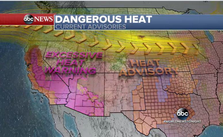 這個周末到下周初,美國西南部地區和加州遭遇持續數天的危險極端炎熱天氣,特別是西南部沙漠地帶氣溫會更高。(視像擷圖)