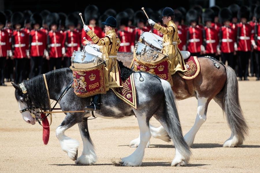 英國皇家軍隊閱兵儀式(Trooping the Colour)。(Jack Taylor/Getty Images)