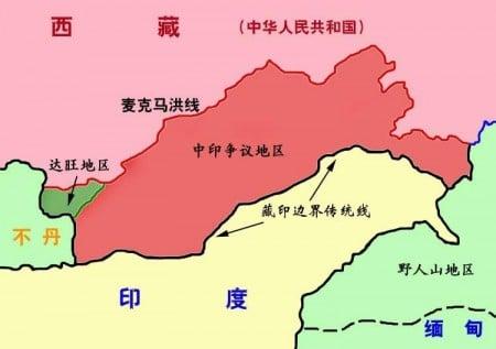 中華民國拒不承認的「麥克馬洪線」。(資料圖片)