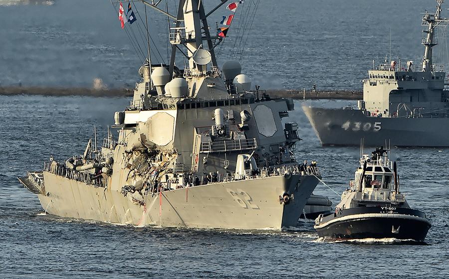 美驅逐艦和商船相撞7死
