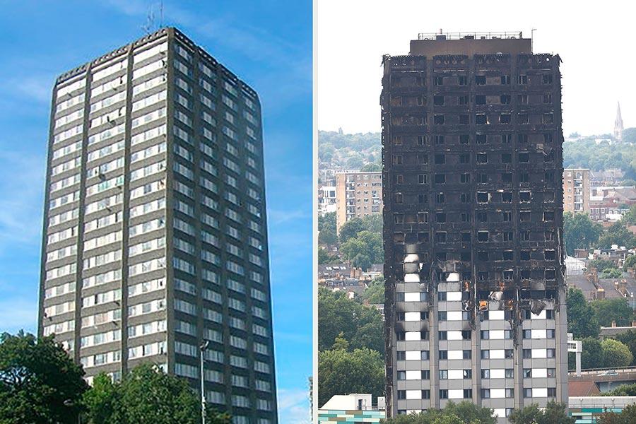 倫敦格倫菲爾大廈6月14日凌晨起火,造成58人死亡或失蹤。圖為該大廈遭受火災前後對比圖。(左:R Sones/維基百科。右:TOLGA AKMEN/AFP/Getty Images。大紀元合成)