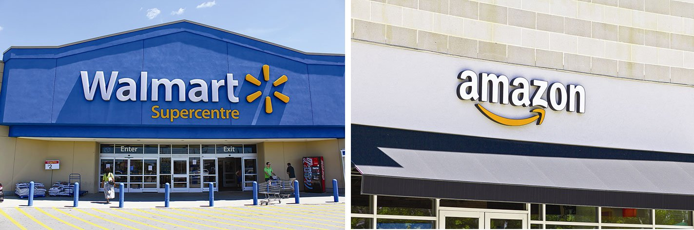 是在「雲上」的亞馬遜先併購實體店接地氣變成沃爾瑪,還是「地上」的沃爾瑪先發展網購轉型為亞馬遜?誰將先成為「全能零售者」?(shutterstock)