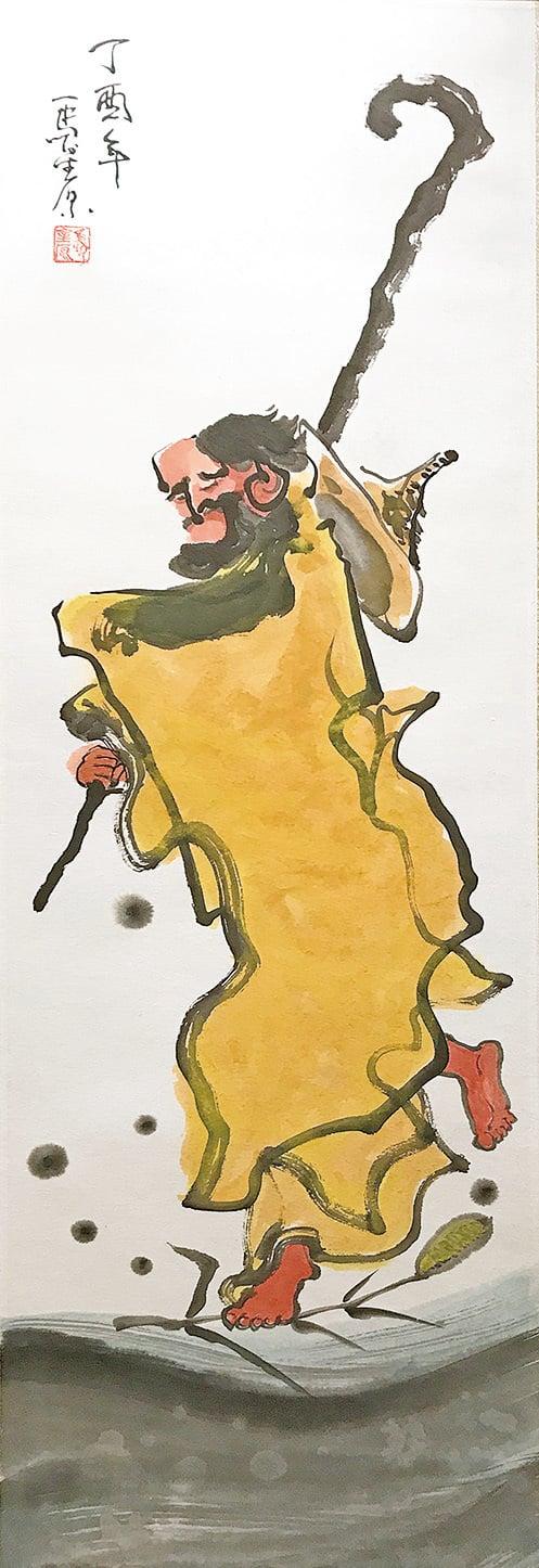達摩「東來傳道,一葦渡江」。(王文君/大紀元)