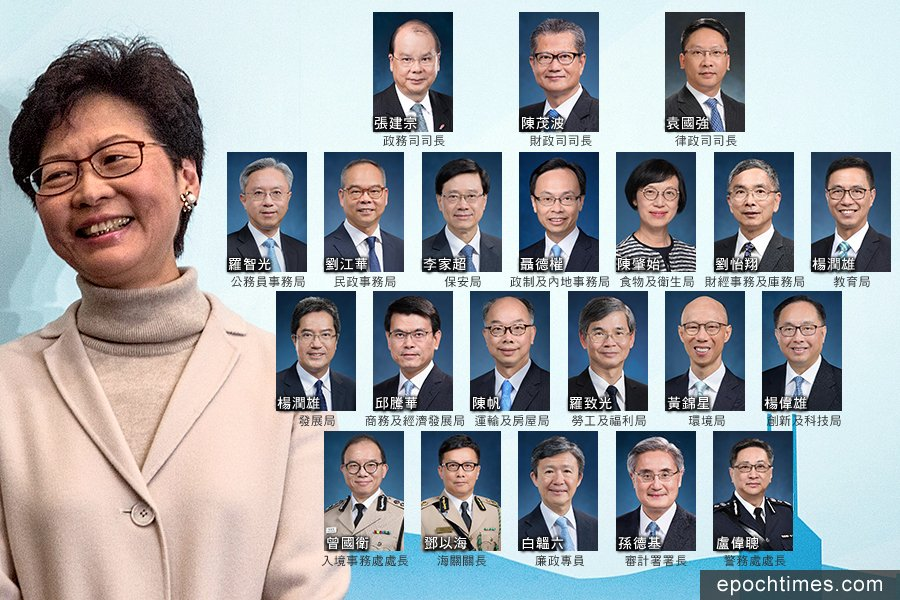 國務院今早公佈下屆特區政府官員的任命,現屆政府的三位司長留任,13局中現屆有3人留任,4人從副局長「坐正」,亦有多位新任局長從公務員隊伍中提拔。(Lam Yik Fei/Getty Images、政府新聞公報/大紀元合成)